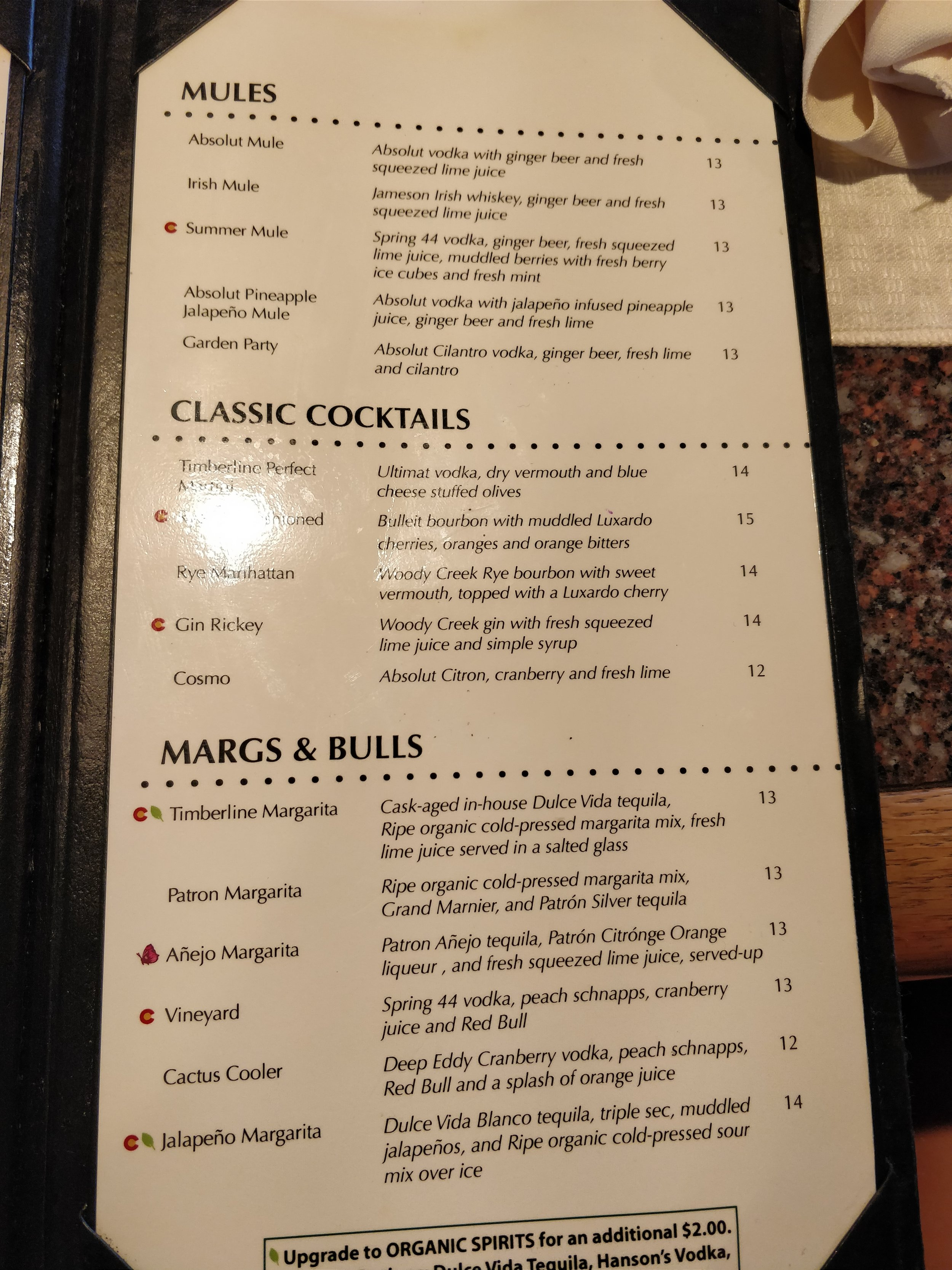 mules, cocktails, margs & bulls