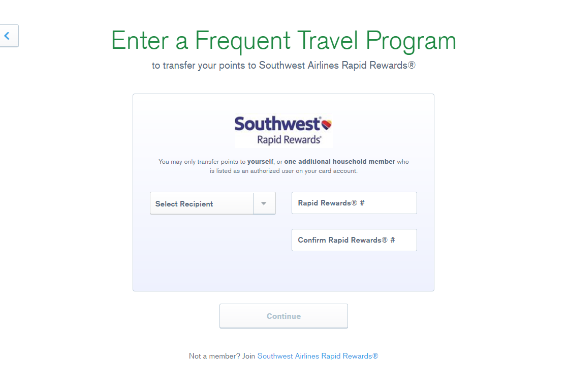 enter your frequent travel program info