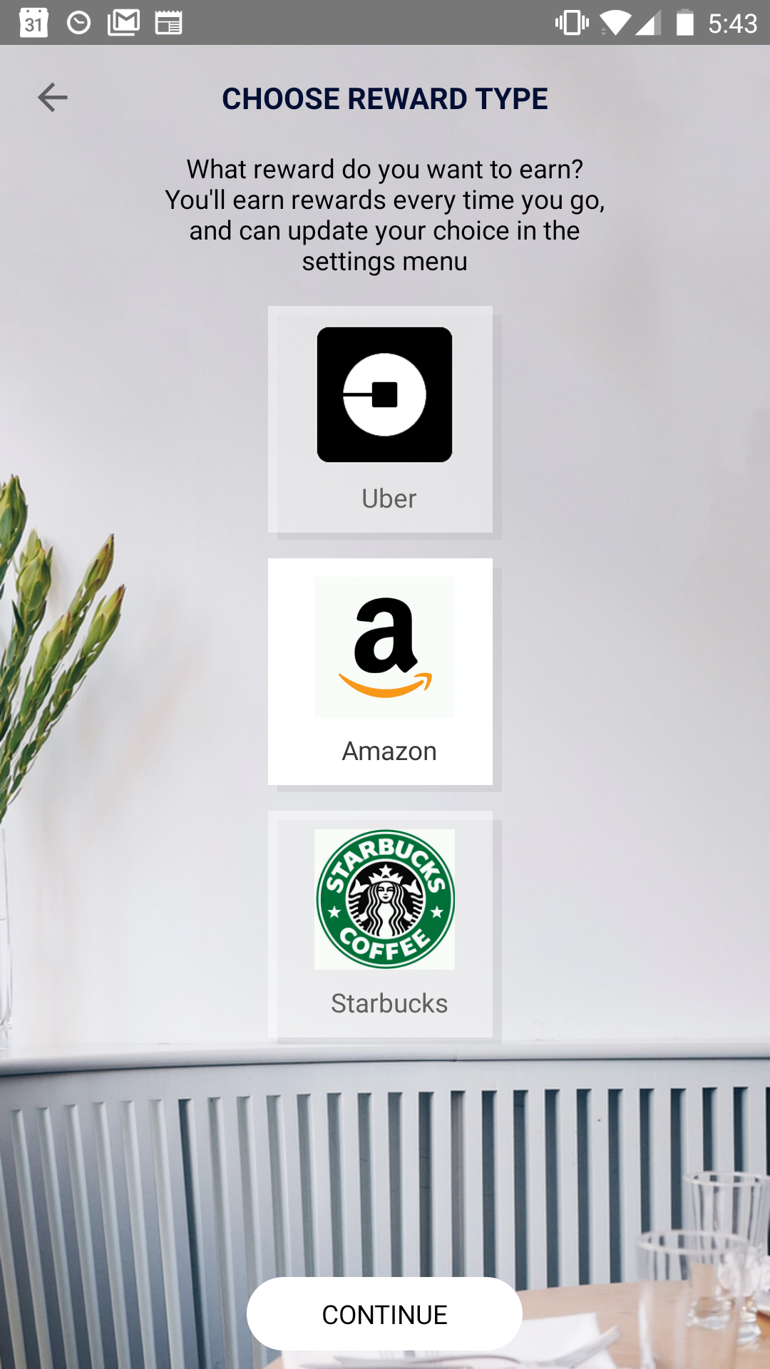 select the gift card type