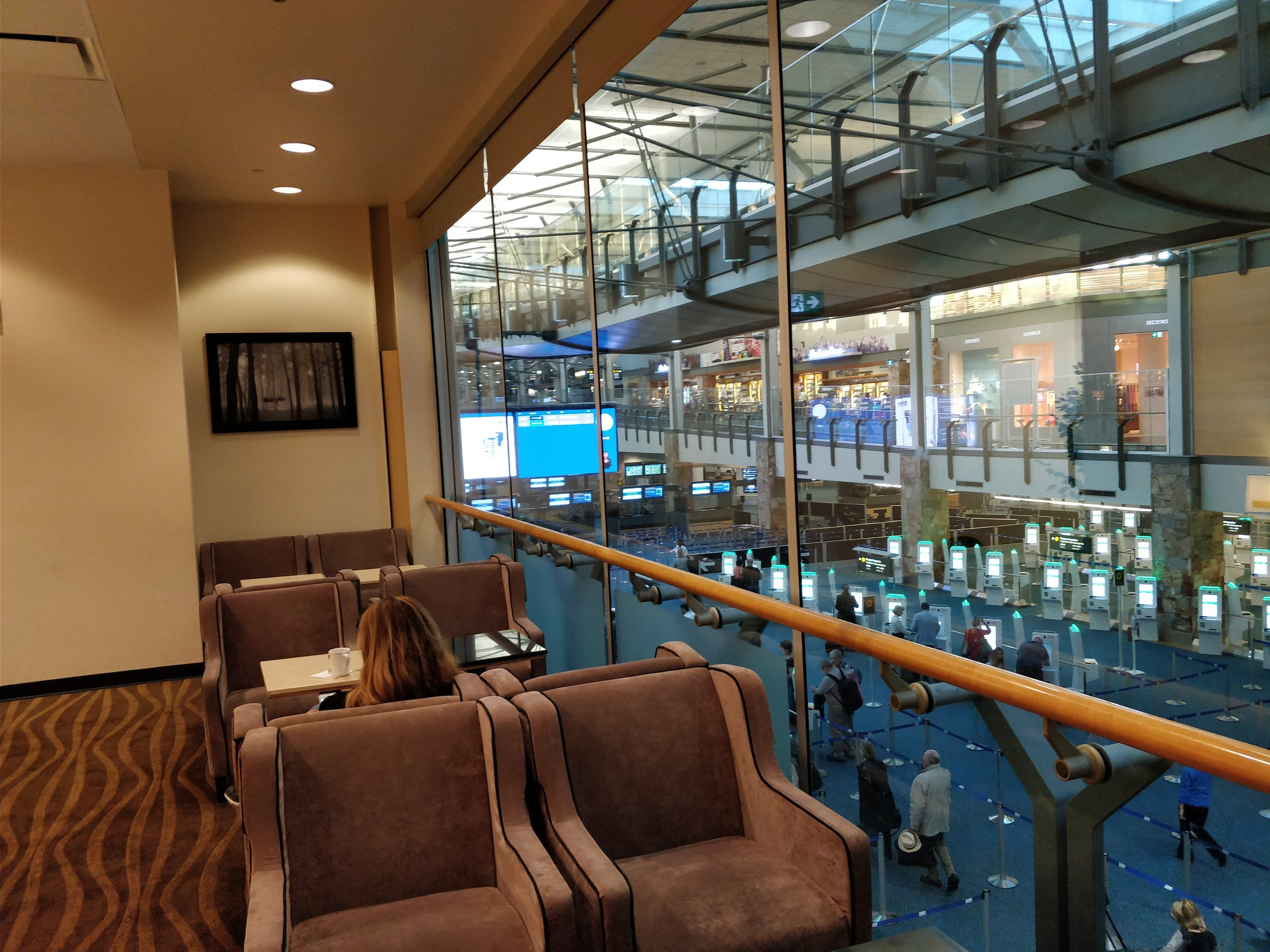 seats witha a view of the arrivals hall