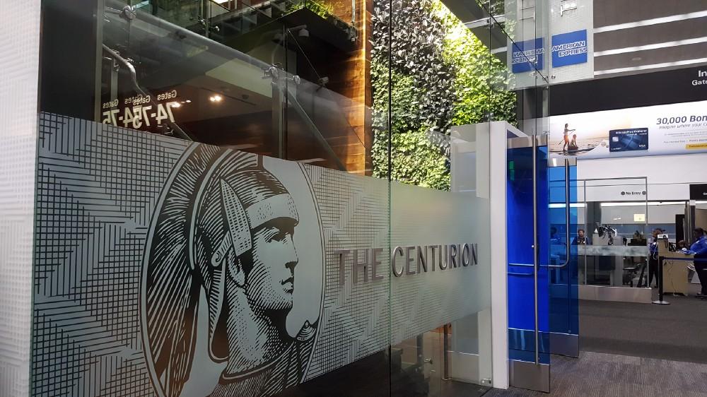 entrance to the sfo amex centurion lounge