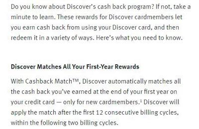 discover cashback match