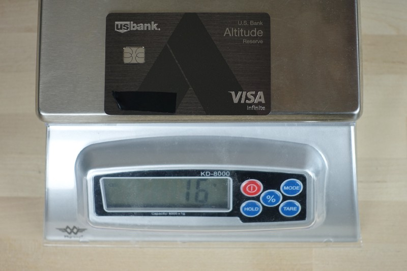 U.S. Bank Altitude Reserve weighs 16 grams
