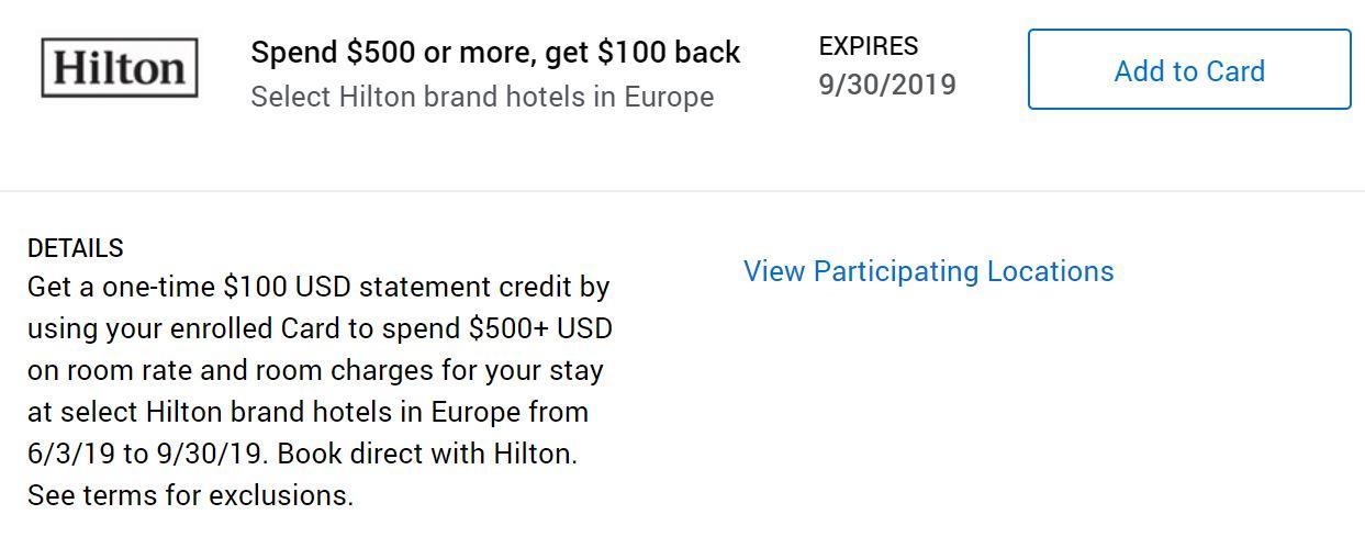 Hotel - Hilton Europe (100 back after 500 spend).JPG