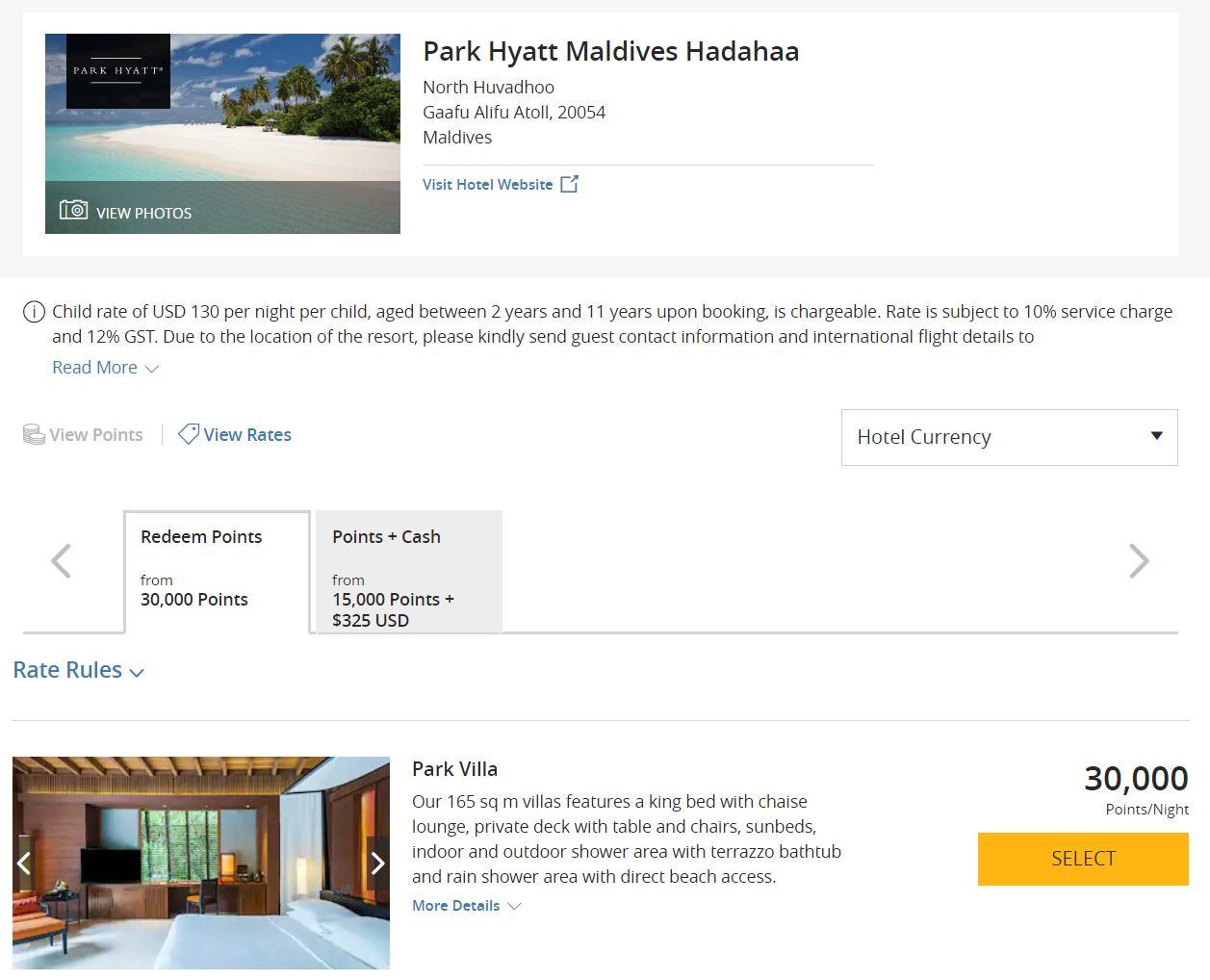 image via  hyatt.com/shop/mldph?location=Park%20Hyatt%20Maldives%20Hadahaa&checkinDate=2019-12-11&checkoutDate=2019-12-12