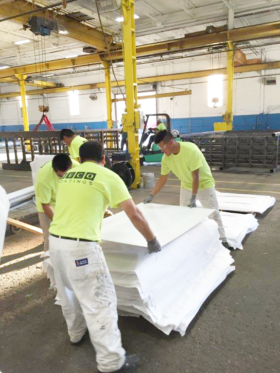 DECO Coatings climate-controlled warehouse during production
