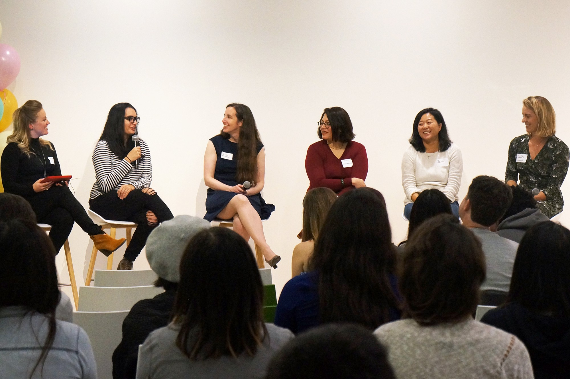 L to R: Cheriana Griggs (Moderator), Marissa Chacko , Lisa Friedman , Prachi Sakharkar , Jaclyn Zhuang , Claire Menke