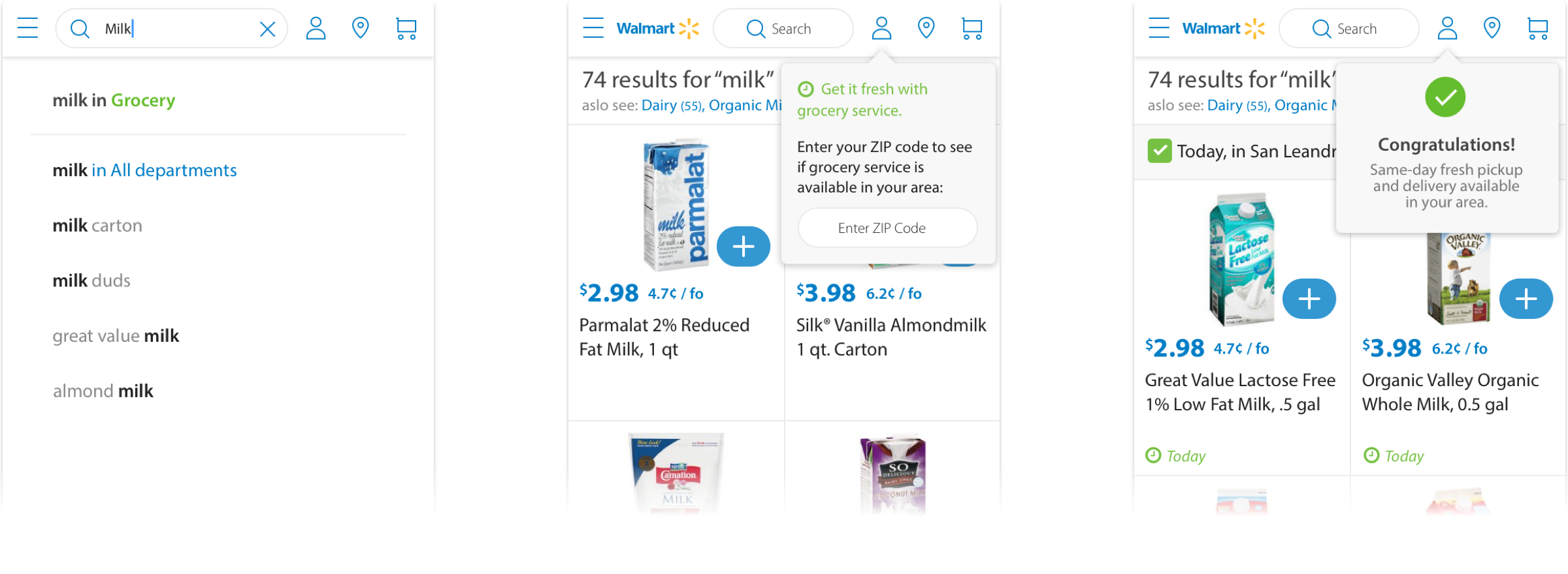 Left to right: Grocery category search, ZIP code eligibility flyout, eligibility success flyout
