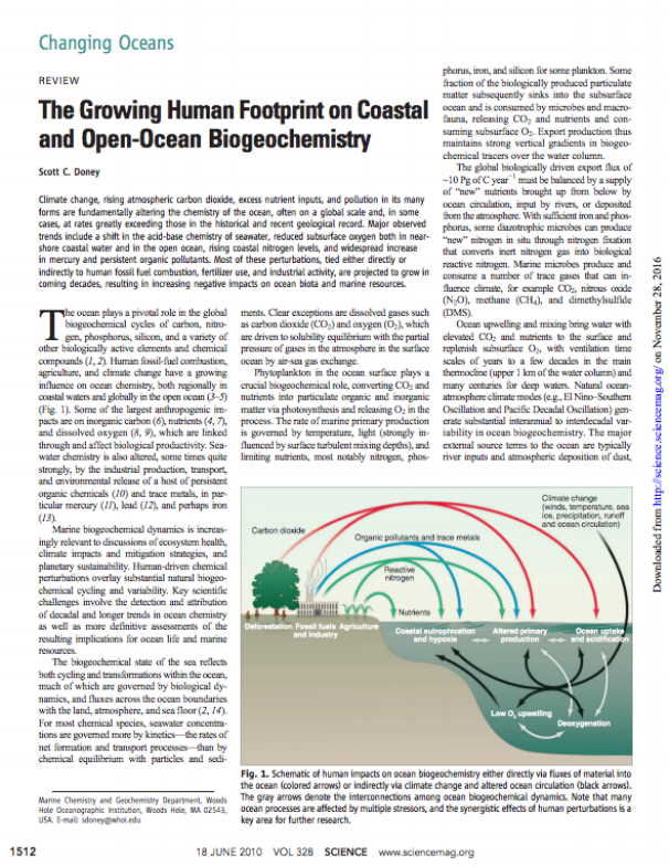 Doney, S.C. (2010) The Growing Human Footprint on Coastal and Open-Ocean Biogeochemistry . Science 328, 1512; DOI: 10.1126/science.1185198.