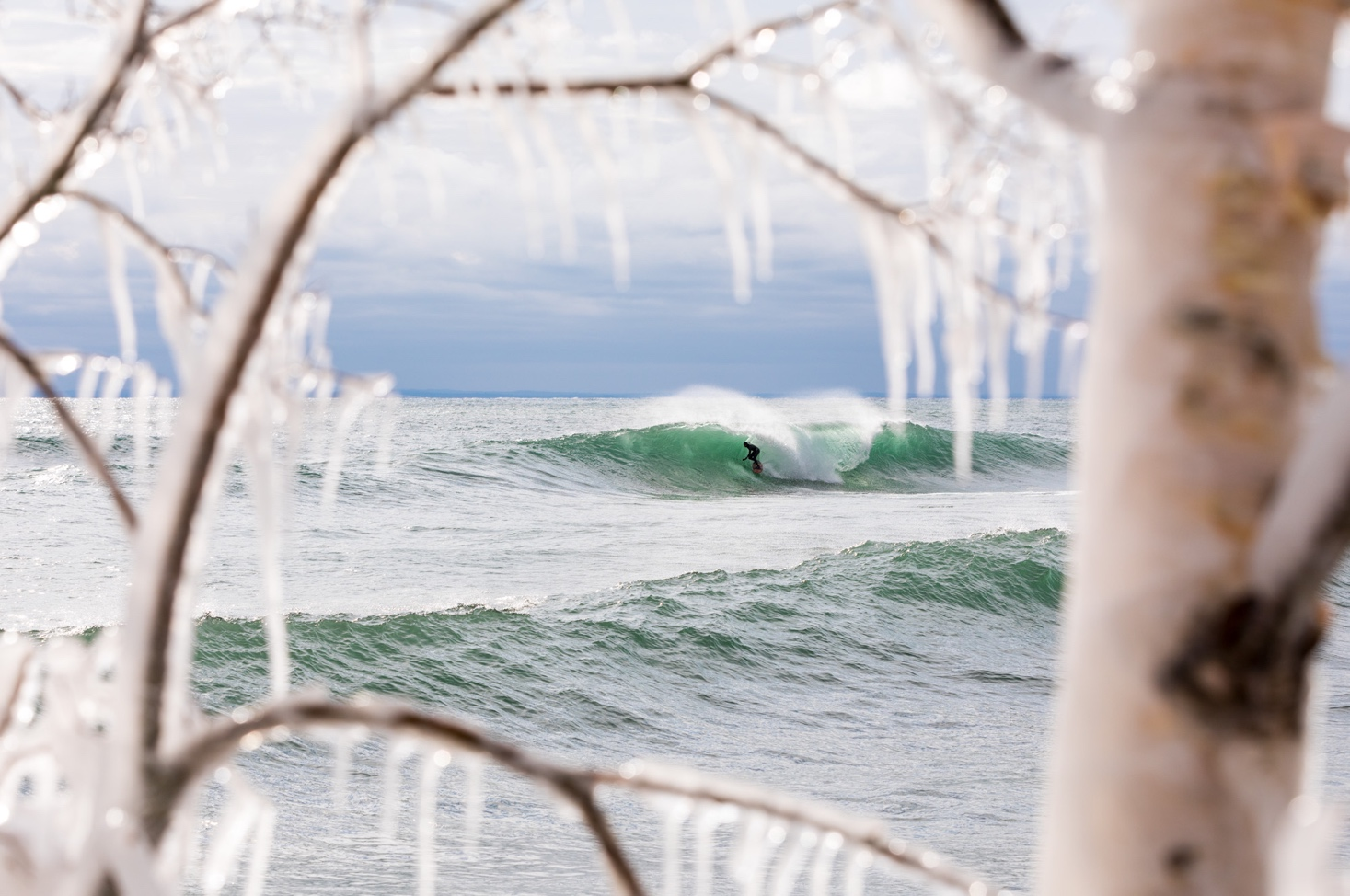 Dylan, scoring the swell of the decade in the Great Lakes. Photo:  Mike Killion  .