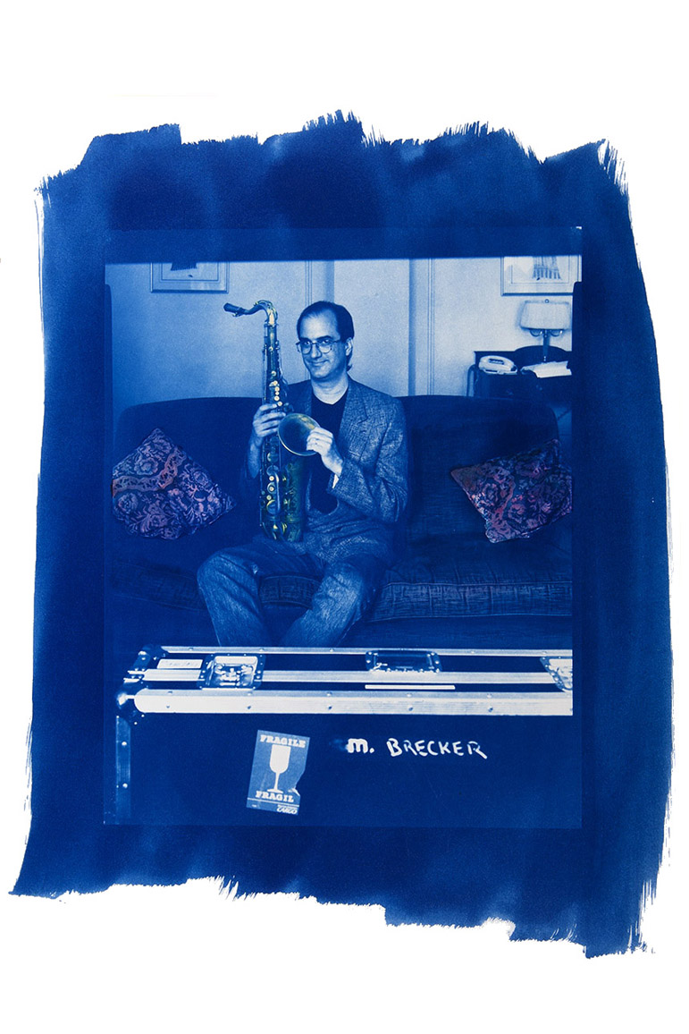 Mike Brecker - Cyanotype and Paint