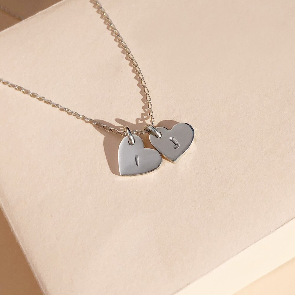 Personalized Sterling Silver Necklace. Hand Stamped Tiny Hearts Initial Necklace