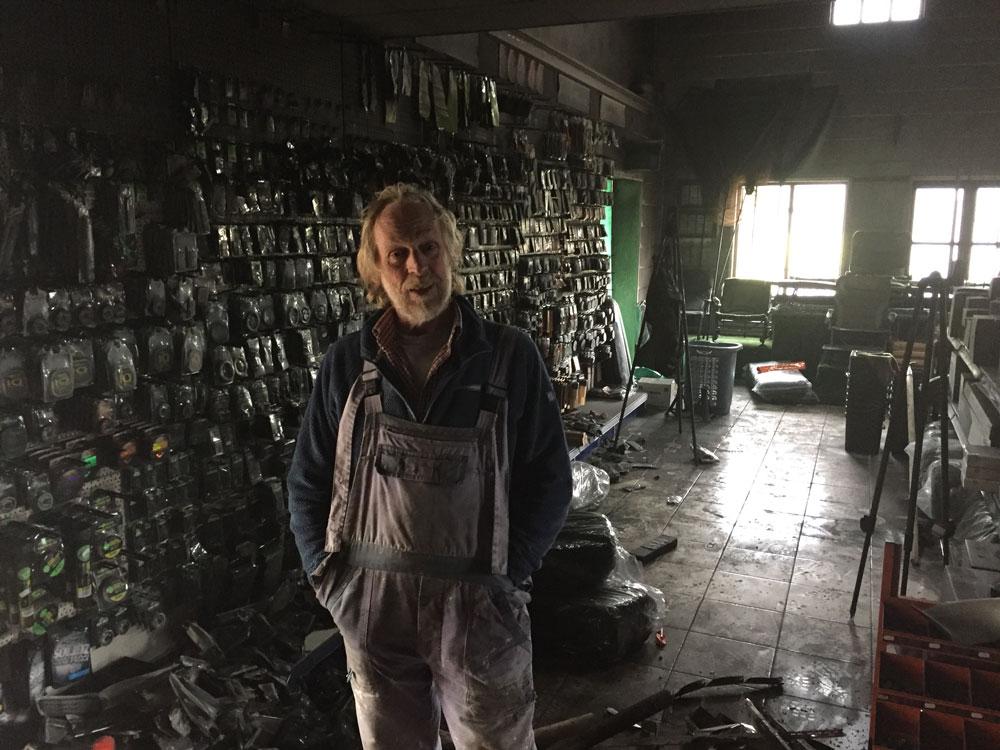 Bluebell owner Tony Bridgefoot surveys the damage
