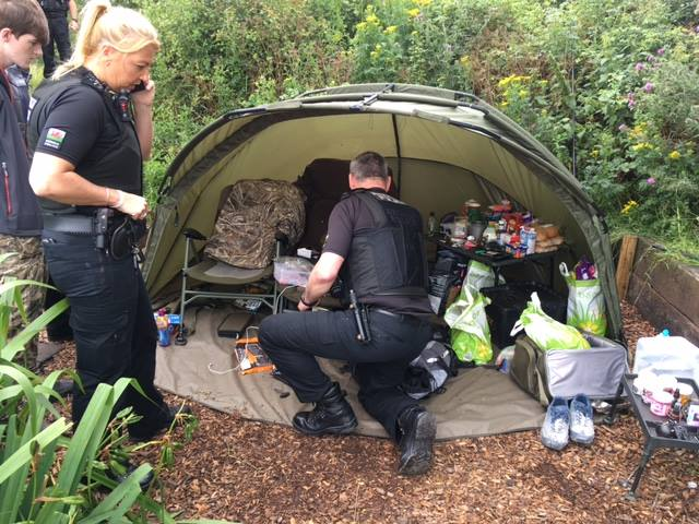 Police raid the carpers' bivvy