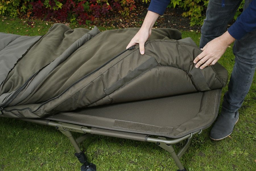 The sleeping bag and mattress are removable