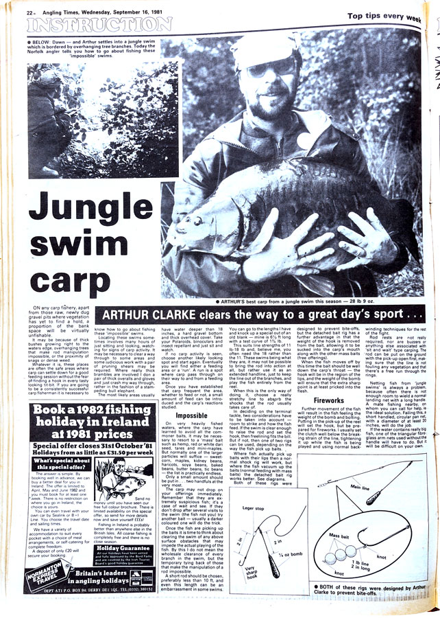The secret's out! Arthur Clarke's 'detached bait' rig in Angling Times in 1981