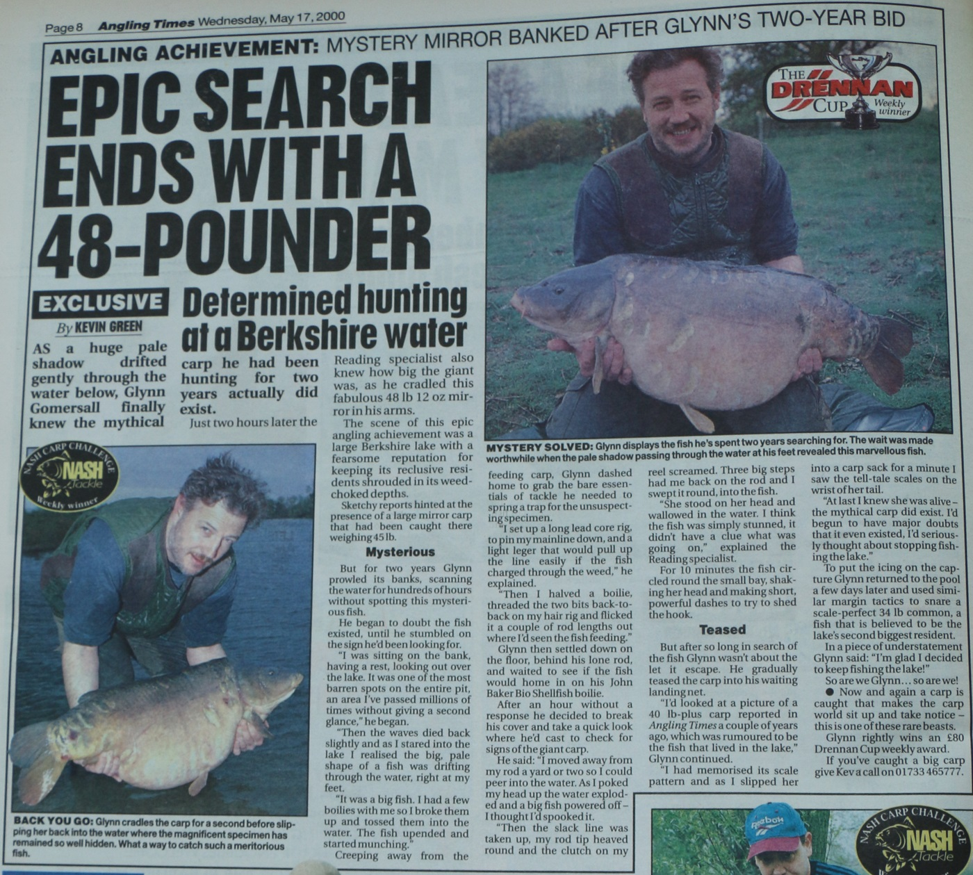 How the news was reported in Angling Times in 2000