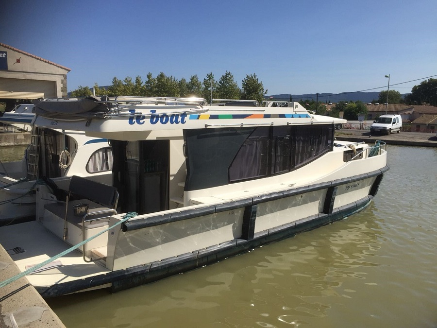 The couple's boat for their trip on the Canal du Midi
