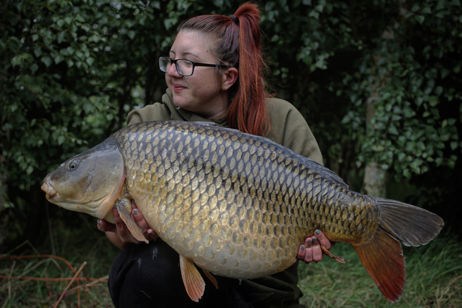 Hannah had this 38lb 12oz fish, the Baby Common, in August