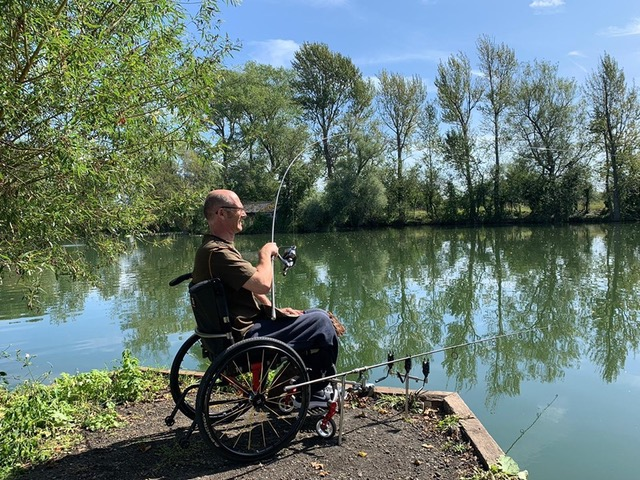 Justin is back on the bank after his accident in March