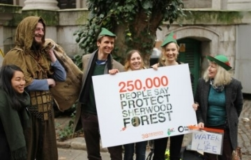 The petition against fracking in Sherwood Forest, signed by Friends of the Earth and 38 Degrees supporters (CREDIT: FOE EWNI)