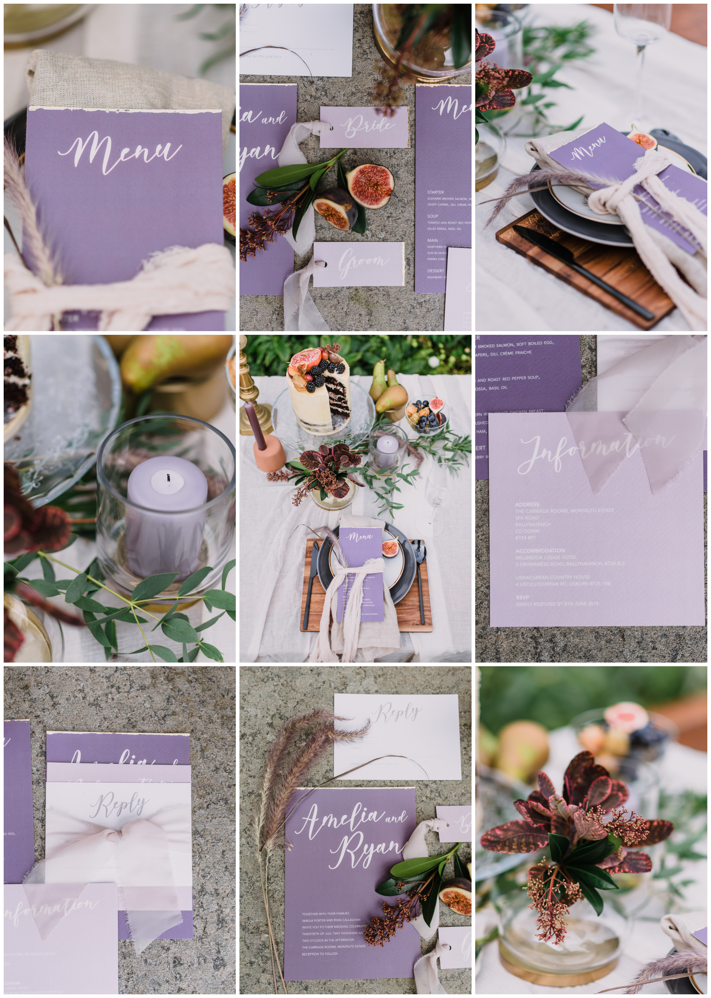 autumn at the carriage rooms, montalto estate, naked wedding cake, purple wedding invitations, autumnal wedding stationery.jpg