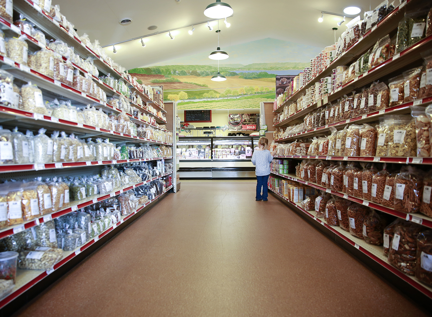 girl peruses candy aisle in oak hill bulk foods penn yan new york