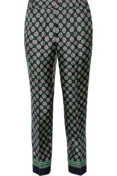 J. Crew   'Quilina' cropped printed silk-twill straight-leg pants