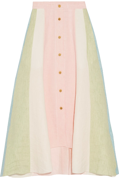 Peter Pilotto   Asymmetric paneled linen midi skirt