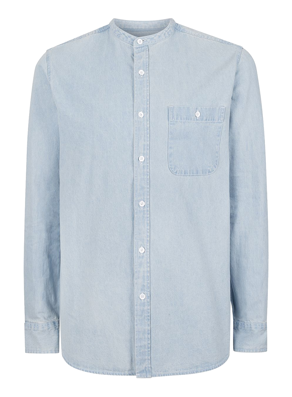 Topman   Blue Bleach Wash Stand Collar Denim Shirt