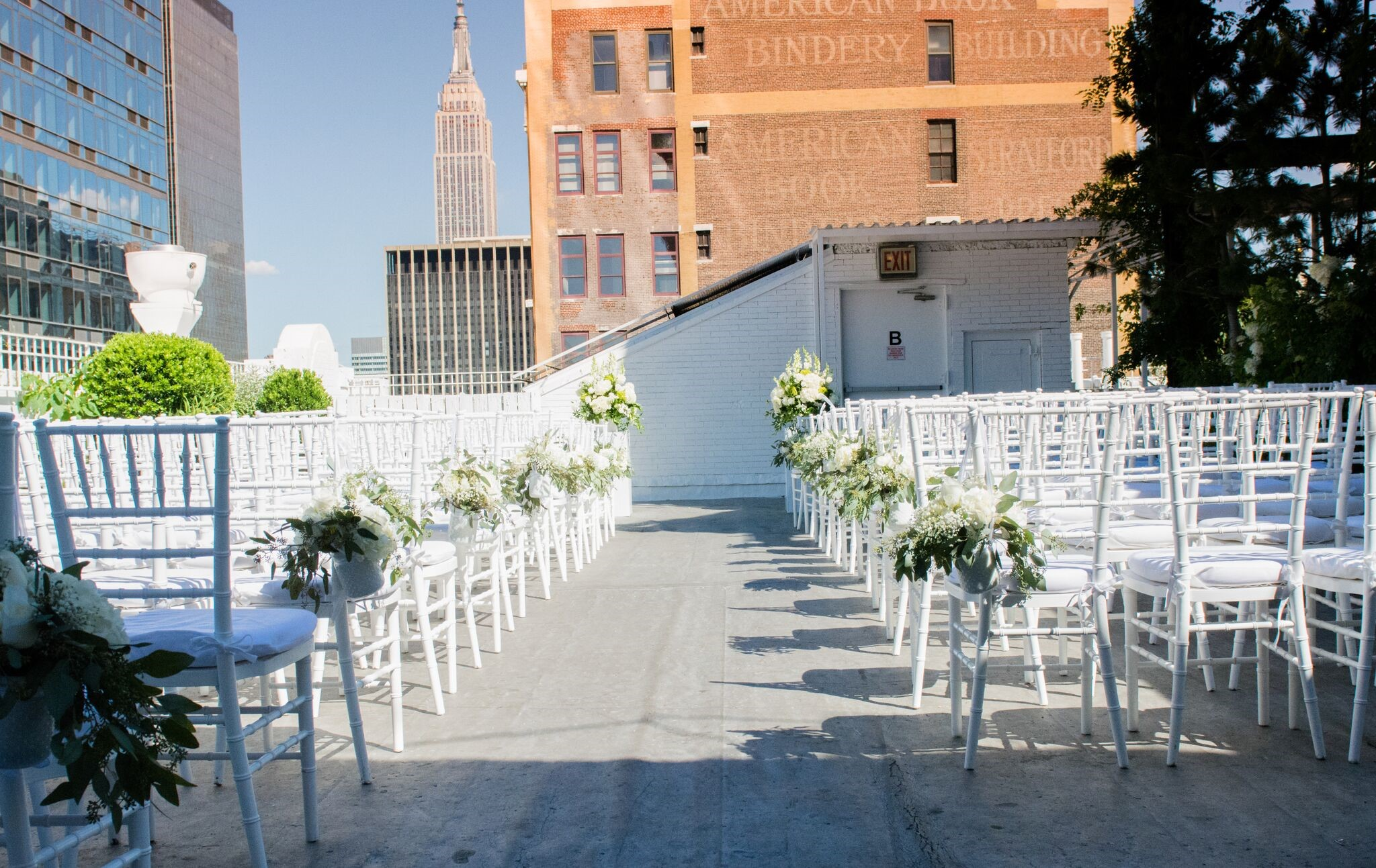 Ceremony Area on the Studio 450 Terrace with view of the Empire State Building