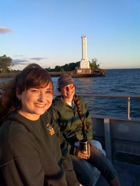Portage SWCD & ODNR Old Woman's Creek interns on USGS boat at Lake Erie during summer educators workshop heading out to participate in the collection of a series of samples.