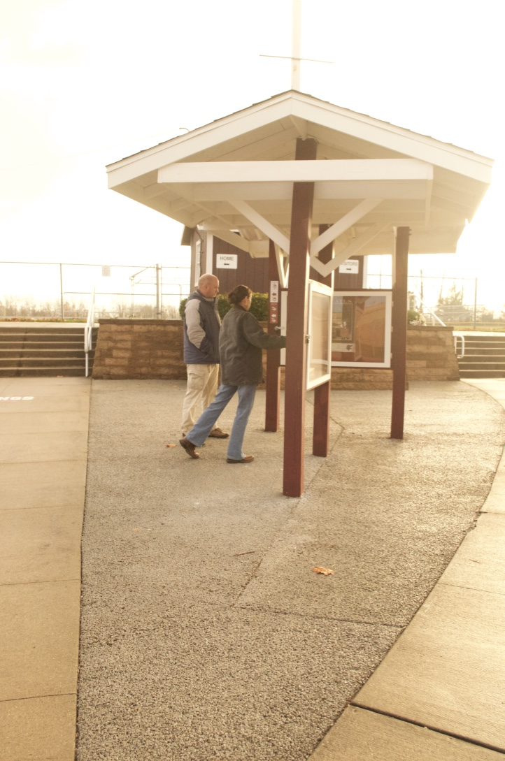 Waterloo pervious pavement kiosk that provides trail maps and educational materials related to stormwater management.