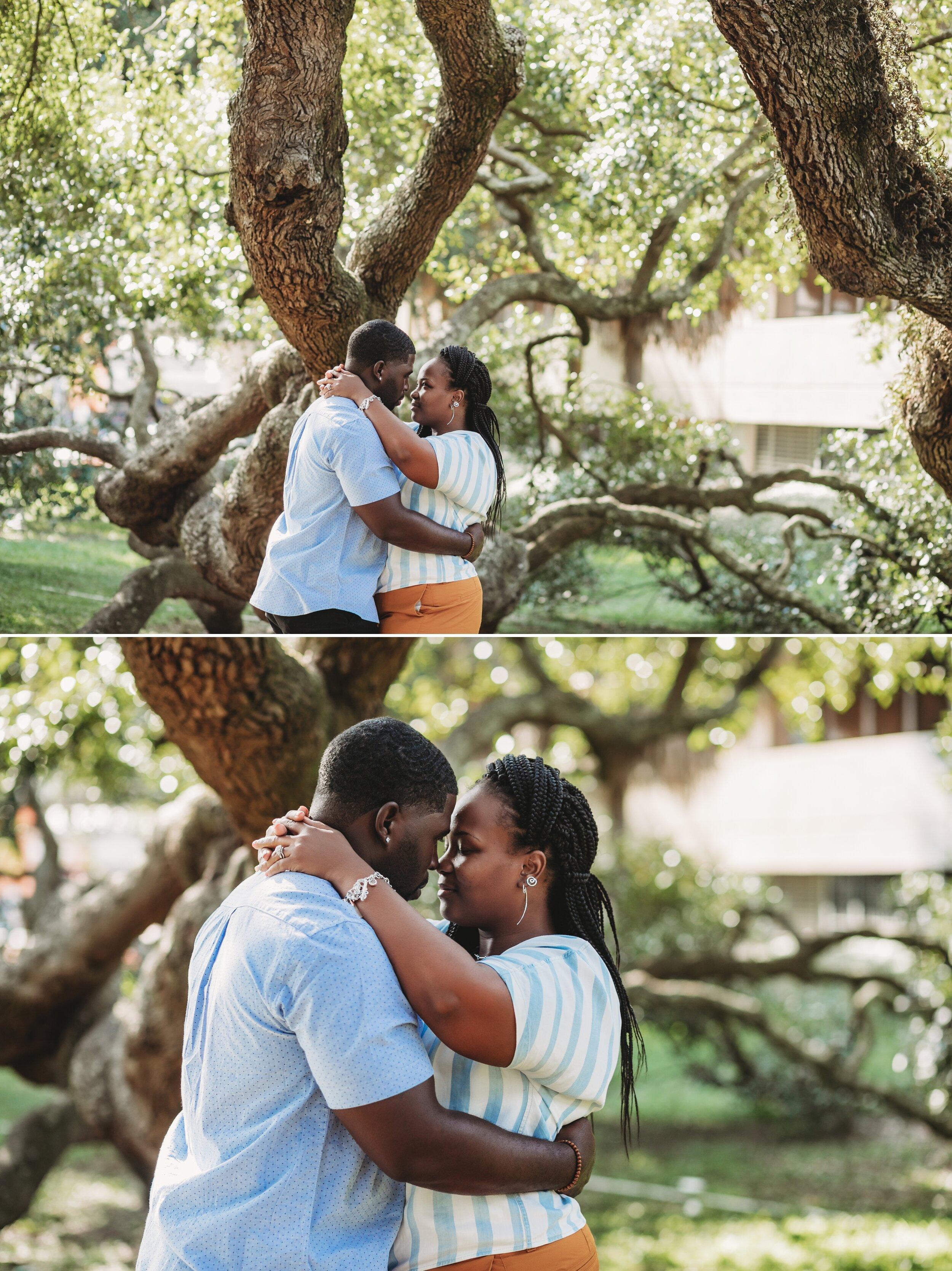 Treaty Oak Downtown Jacksonville fl Couple engagement Photography