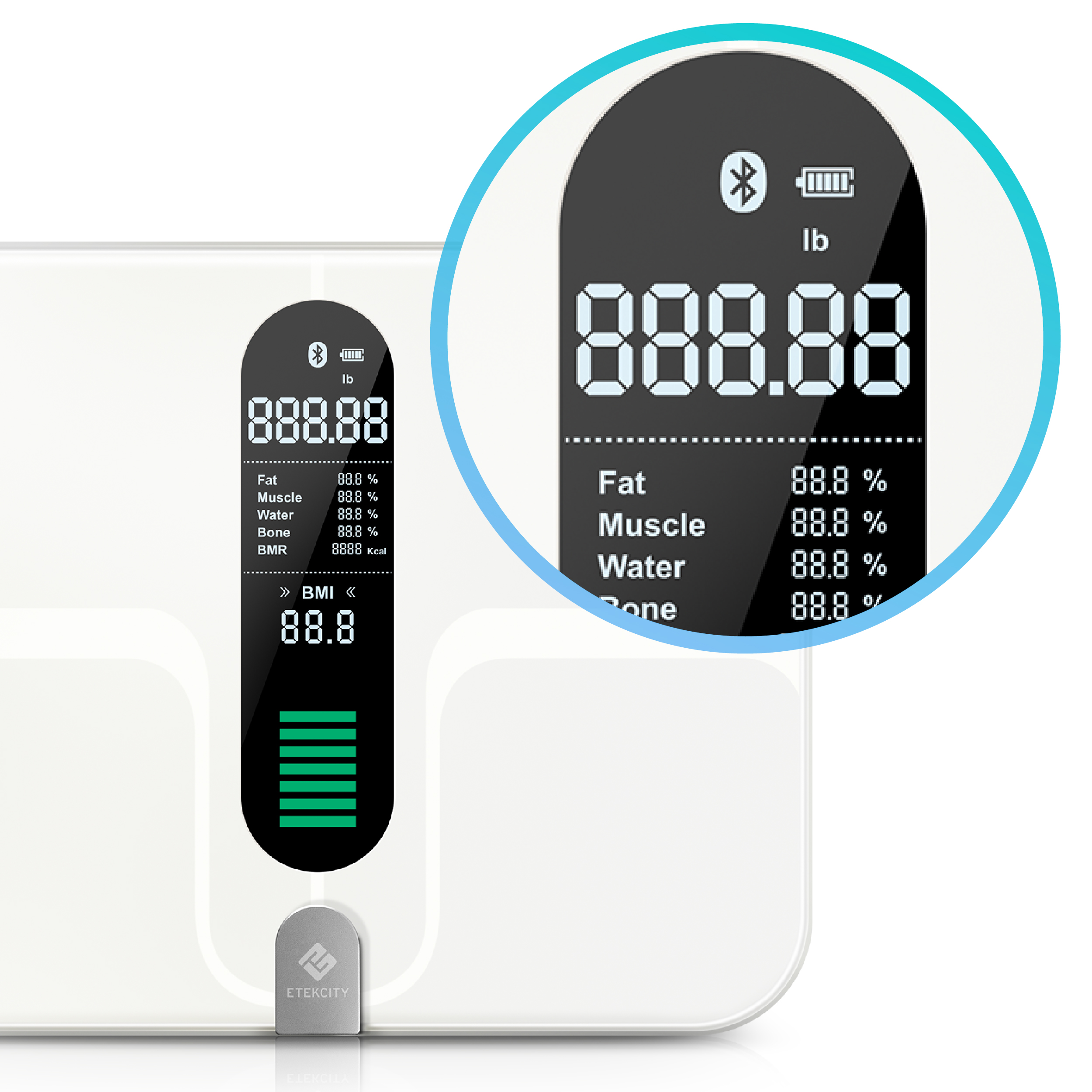 Clear LCD Display   Get a clear view of your body metrics at a glance, beautifully displayed on the scale.