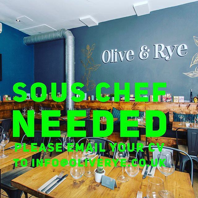 Due to a long standing member of the Olive & Rye team moving on, it has opened up a sous chef position at the restaurant . Olive & Rye is a fast paced and extremely busy cafe/restaurant in the heart of Leeds City centre. Only operating in day time hours it gives the perfect job opportunity for anyone wishing to have a better work life balance. Anyone wishing to apply for the position must have a passion for food and beverage, held a sous chef position in a similar environment, be reliable and have an outgoing and professional work ethic. Training will be given in all aspects of the job but a good level of cooking is imperative . If you would like to apply for the position please send over a copy of your CV and cover letter explaining why you would be the perfect candidate to info@oliverye.co.uk or alternatively please stop by the restaurant with your CV/ cover letter . #oliverye #job