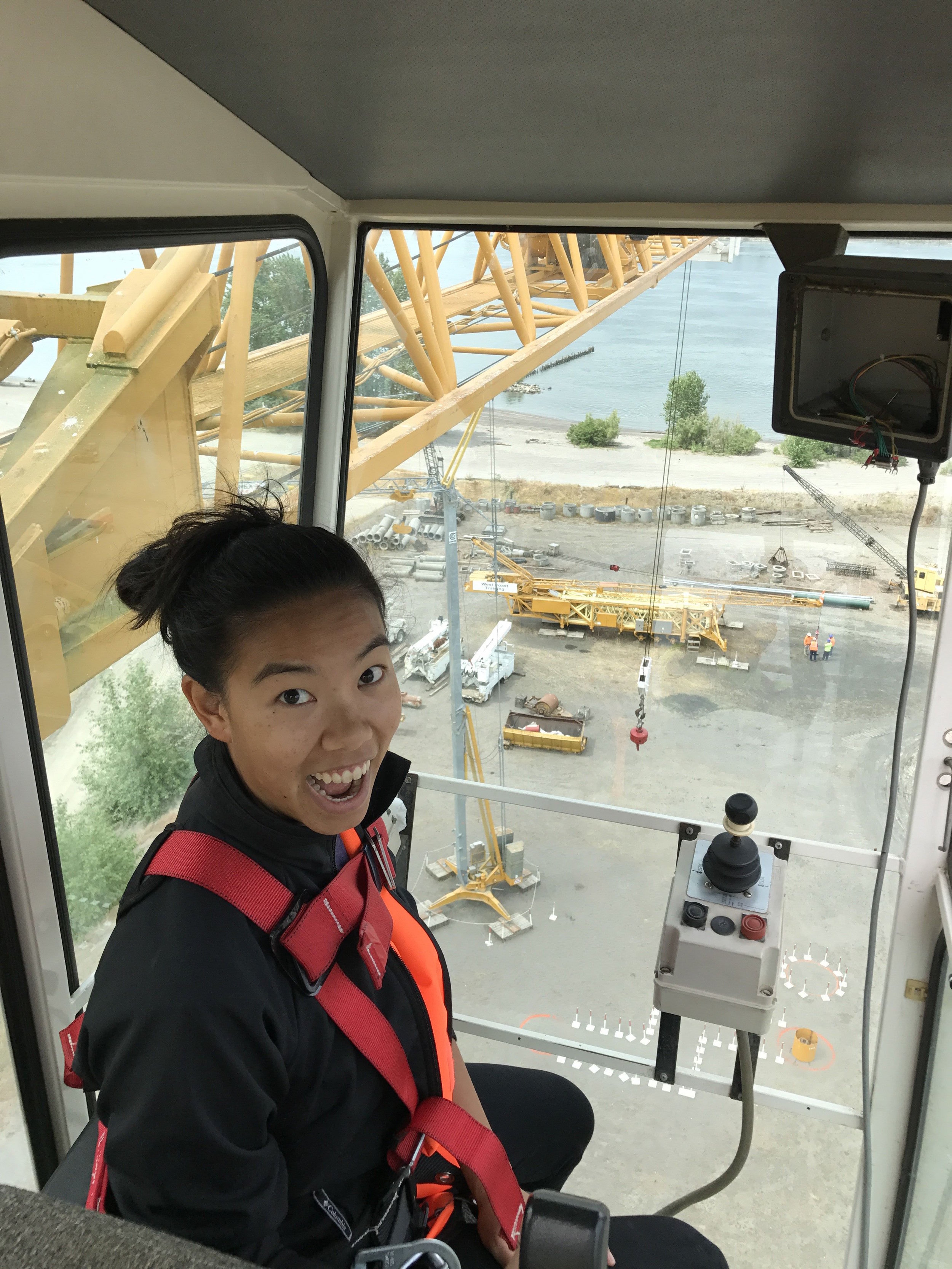 That's me freaking out about being in a 100-foot crane.