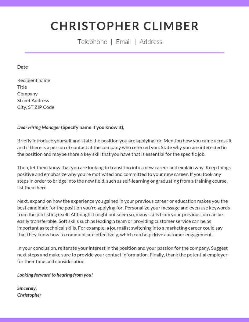 How To Write A Career Change Cover Letter Climb Credit