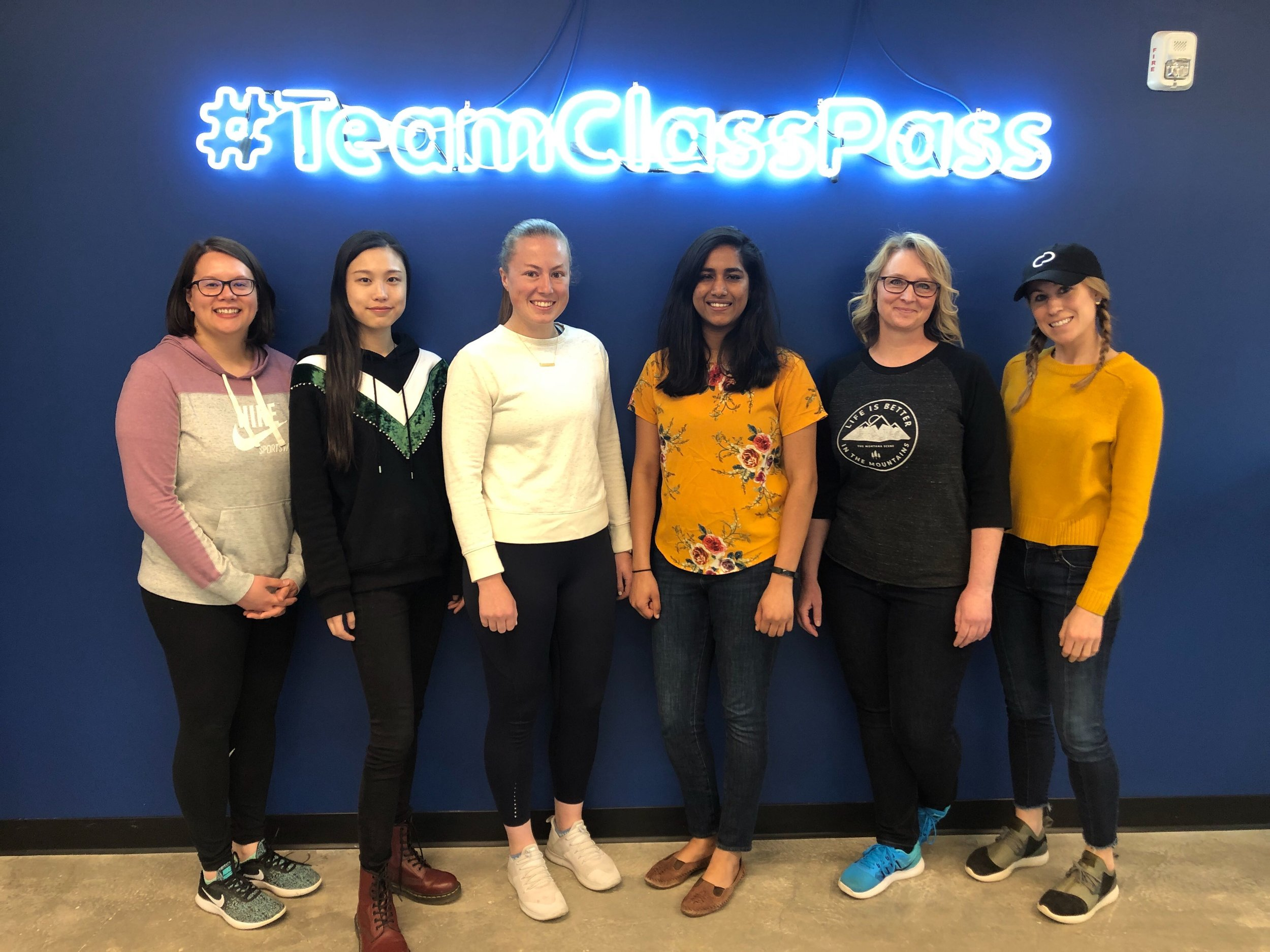 Christy with her fellow women engineers at ClassPass