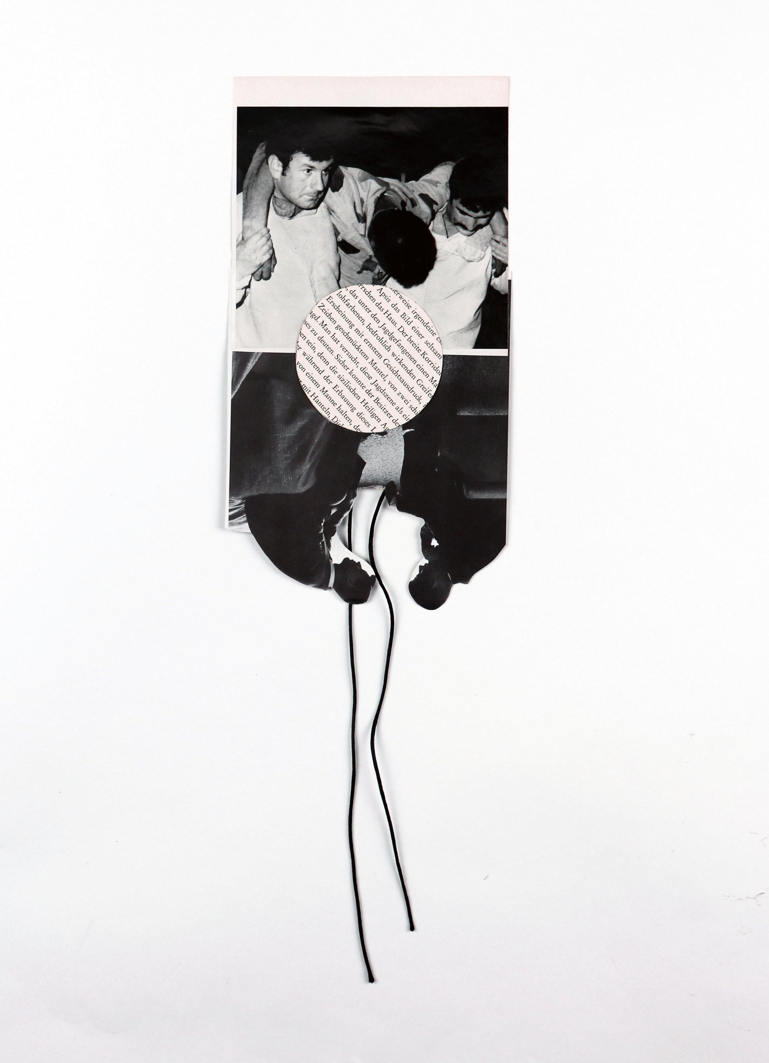 """""""support"""", collage,  found paper, silk tread, 6.5""""x20"""", 2013"""
