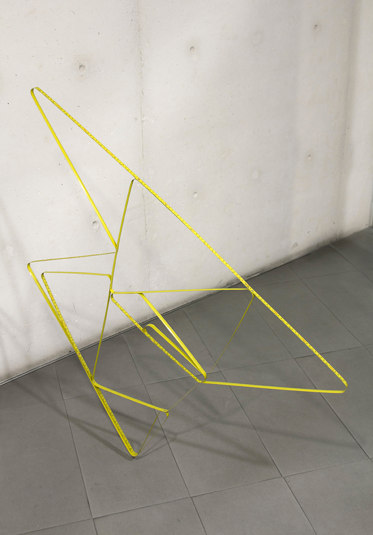 Going round and round in a line ST (12m) , 2012  Tape measure and rivets  Dimensions variable