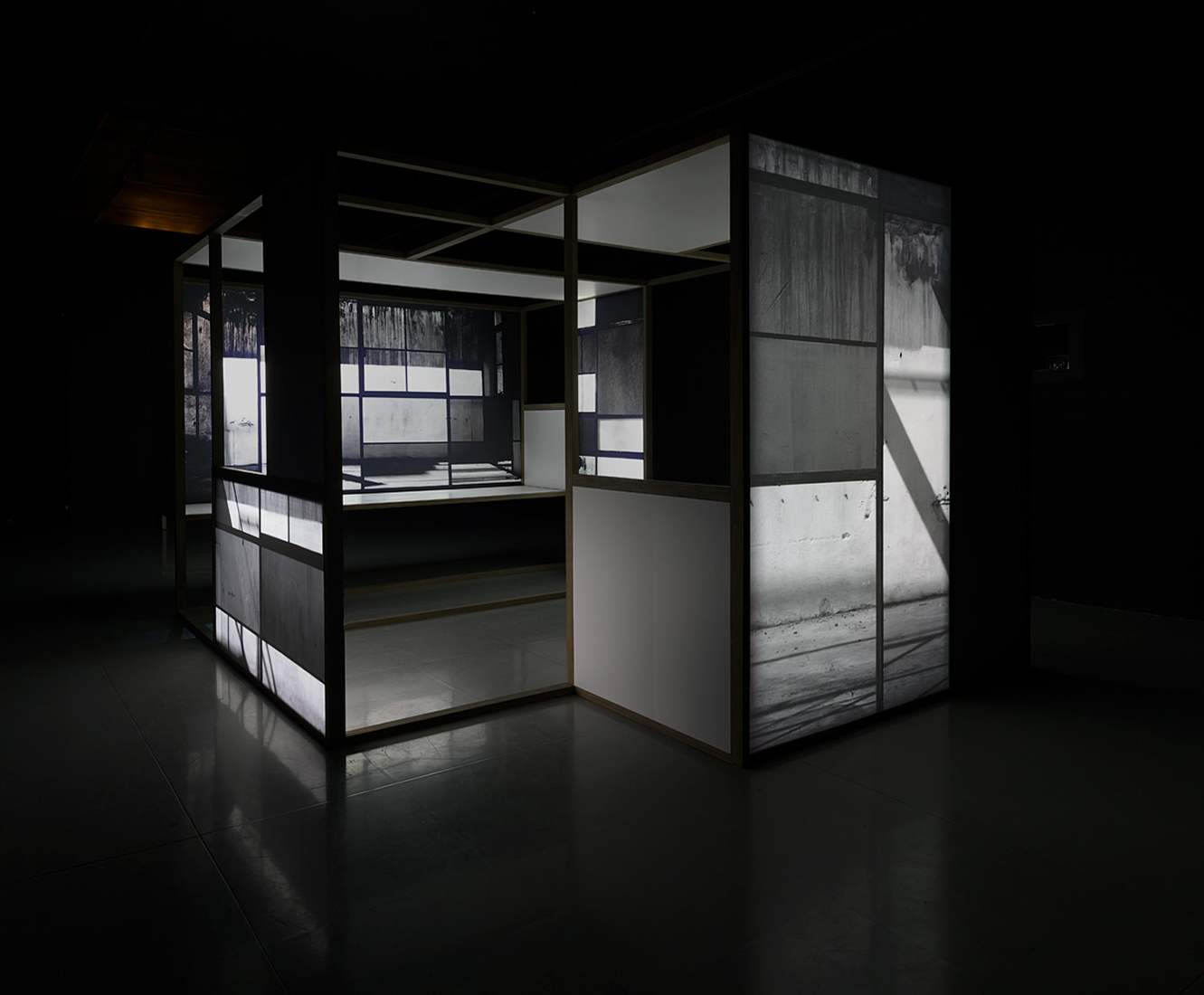 Nada más que las horas , 2013.  Five channel video installation at MAZ Museum. Wood, Formica and polyester screens.300 x 425 x 220 cm.