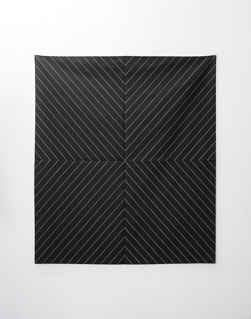 Homage to Stella (Zambezi) , 2012.  Enamel paint on cotton fabric. 100 x 115 cm