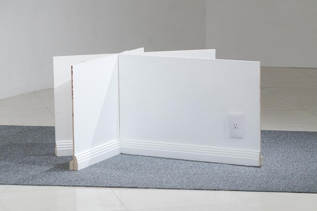 Fabiola Torres-Alzaga -  Saliendo de cuadro,  2018.  Carpet, wood and outlet.