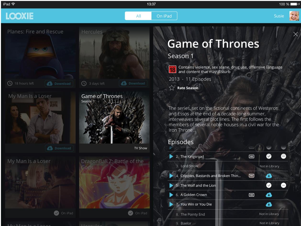 Looxie iPad application - 2014