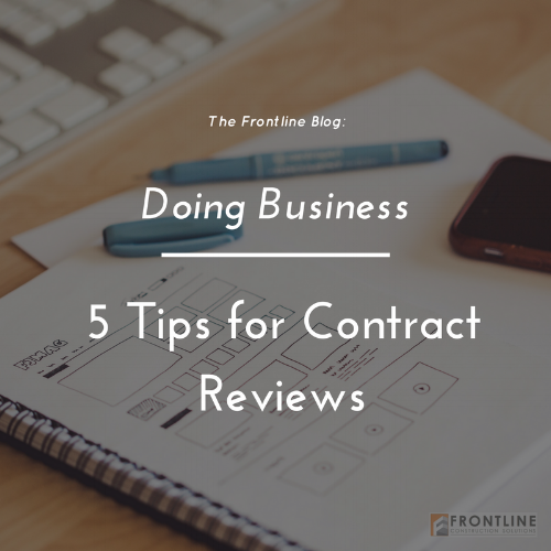 construction contract review tips trip wires retention margin markup frontline daily subcontracting