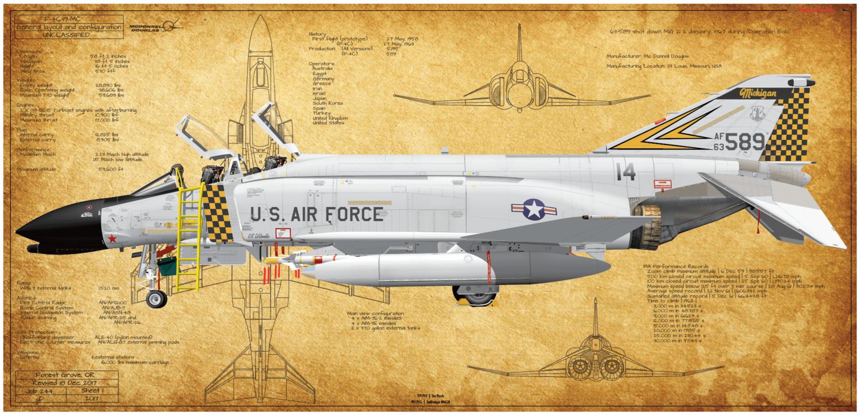 RAF McDonnell Douglas Phantom F4  Fighter BUNDLE 1-8 Prints for price of 4