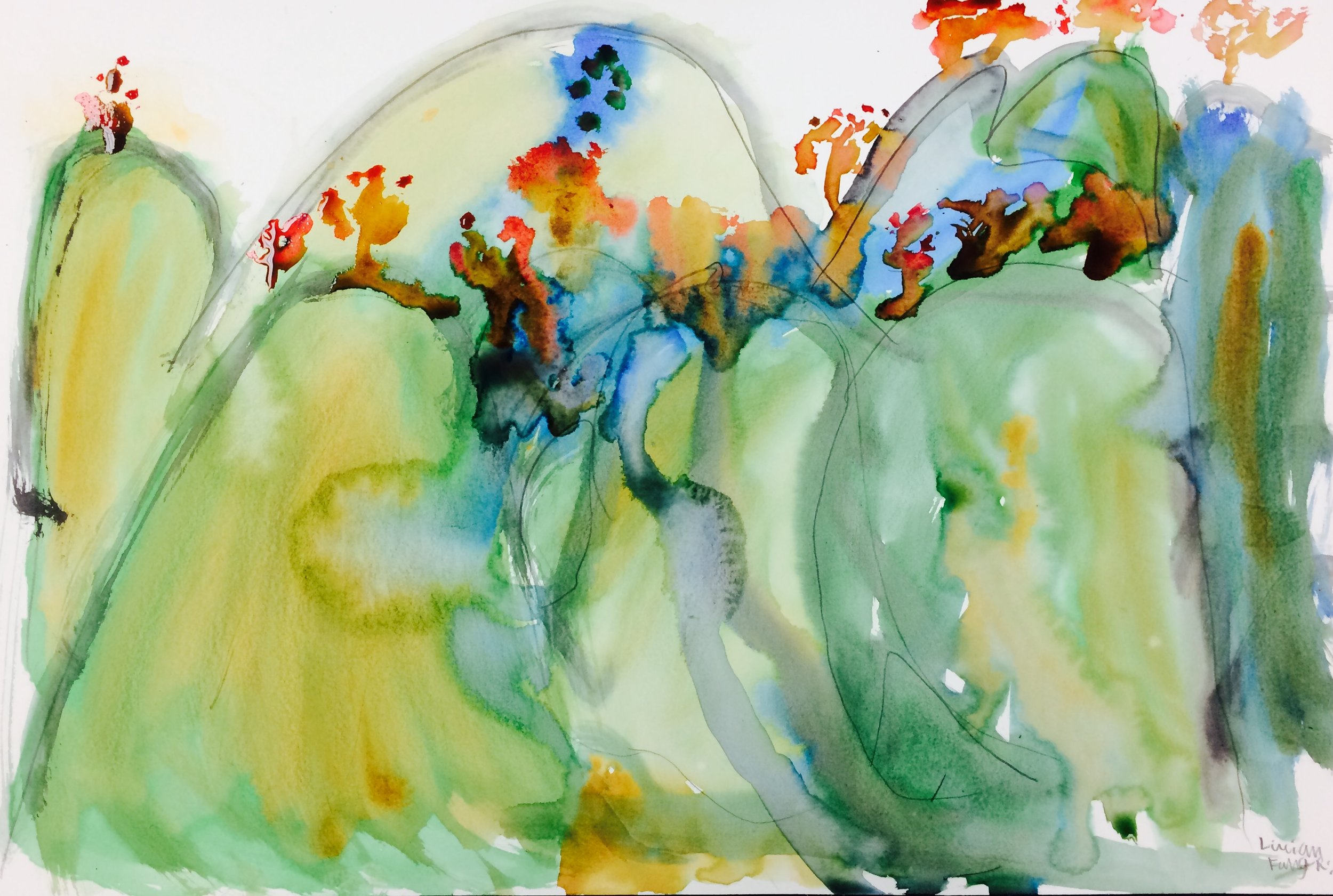 Watercolor mountains by Emily, 8 years old