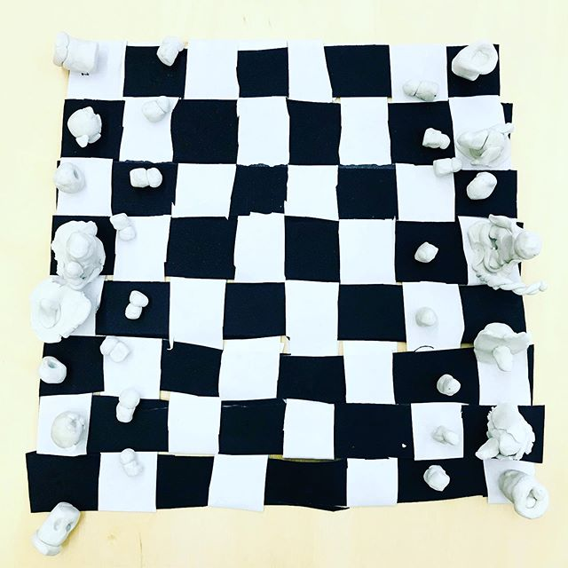 Creating our own chess games in #artclass . This one by D., a 5th grader.