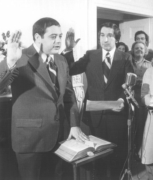 Buddy at his swearing-in ceremony in 1975. He became the youngest mayor in the city's history, its first Italian-American,and its first Republican since the Great Depression. Courtesy of the Providence Journal.